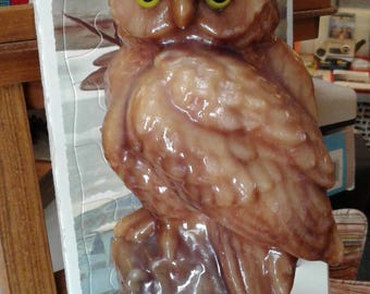 Vintage LARGE Horned Owl Candle with Eyes