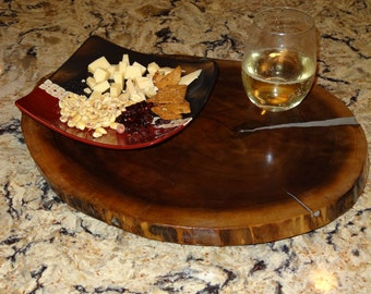 """18"""" Live Edge Oval Wood Lazy Susan / Serving Tray with aluminium nickel inlay"""