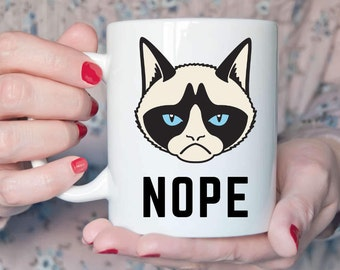 Cat Mug, Funny Cat Coffee Mug, Nope Not Today, Cat Coffee Mug, Funny Cat Mug, Cat Mom Mug, Cat Lover, Statement Mugs, Unique Coffee Mugs