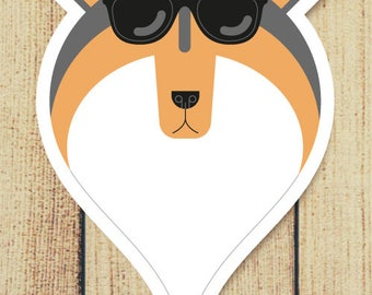 Sheltie Dog in Sunglasses Vinyl Decal