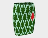 Christmas tree skirt, Christmas skirt, fitted skirt, Green skirt, Christmas outfit, ugly sweater, ugly sweater party