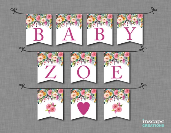 Floral Baby Shower Banner Printable ALL Letters & Numbers