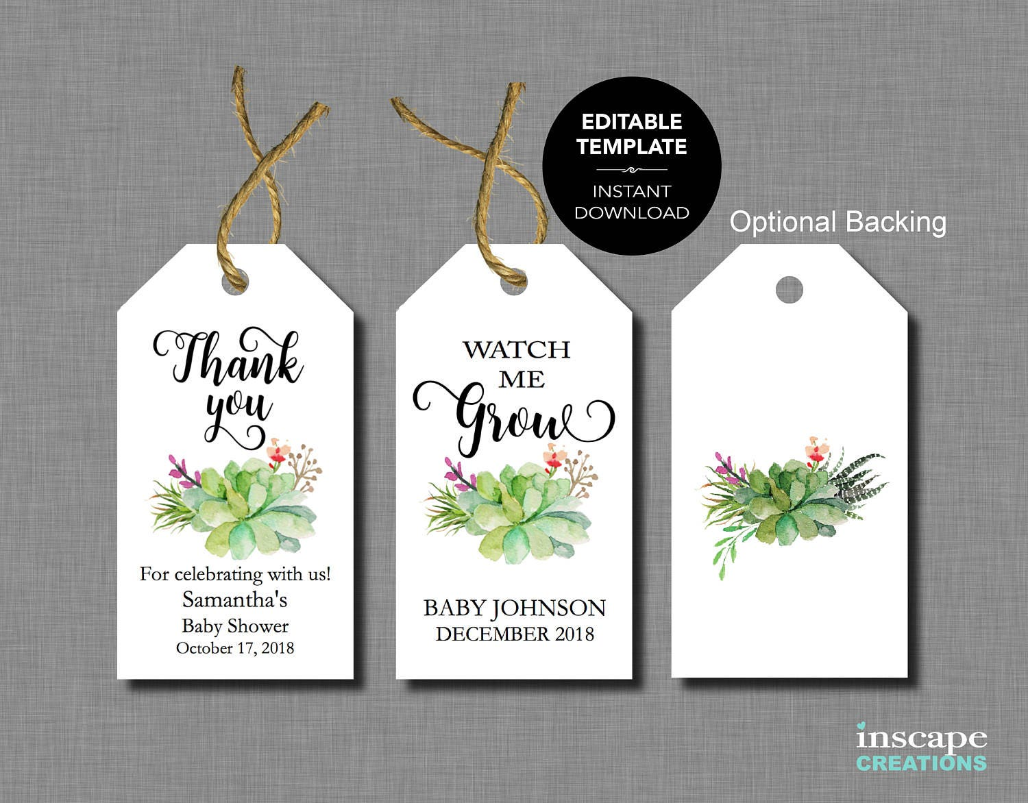 Baby shower favor tags editable template succulents watch me - Baby shower favor tags ...