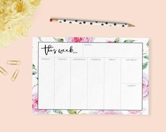 Vintage Weekly Planner    Desktop Planner   Weekly Planner   Printable   Pink   Organiser   Week Planner   Stationery   Commercial License