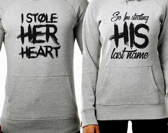 I Stole Her Heart So I Am Stealing His Last Name Hoodies Couple Set - FAST DISPATCH! Matching Set Matching Couple Hoodies 2 partners look