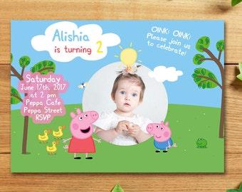 Peppa Pig Invitation with photo, Peppa Pig Birthday Party Invitations, Peppa Invitation with photo, Peppa Party, Printable, Printed