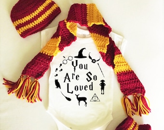 Harry Potter Baby Bodysuit Onesie You Are So Loved Hat Boots Scarf  Set Costume Newborn Infant Gryffindor Hufflepuff Ravenclaw Slytherin