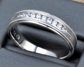 GENTS WEDDING DIAMOND ring with .25 carat diamonds and millgrain finish, men diamond gold ring,gents anniversary ring, white gold men ring