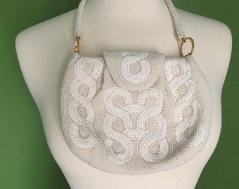 50's-60's White and Ivory Beaded Walborg Evening Bag  VLV 2017 Infinity/Serpentine Motif Perfect for Wedding