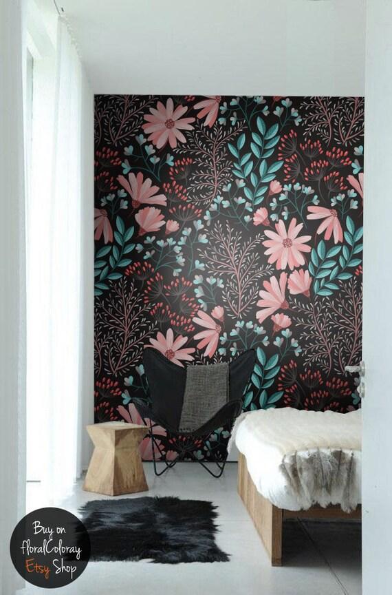Dark Bohemian Wallpaper Vintage Flowers Removable Wall