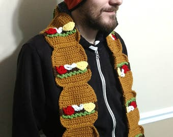 Crochet Cheeseburger Scarf - Handmade - Made to Order