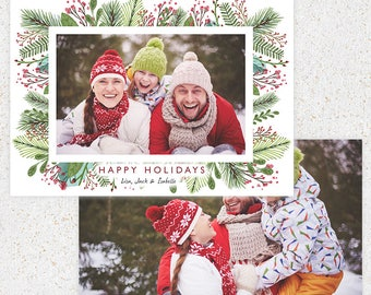 Christmas Holiday Card Photoshop Template--INSTANT DOWNLOAD--c100