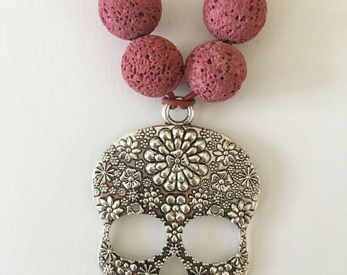 Skull Necklace, Lava stone pendant necklace and wilver skull