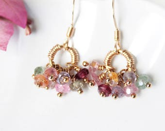 Multi color Natural Sapphire Cluster Earrings in Gold Filled, Sapphire Dangle & Drop Minimal Earrings, Dainty September Birthstone Jewelry