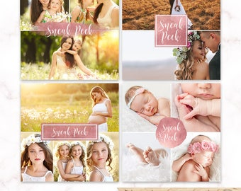 Rose Gold, Sneak Peek, Social Media Templates, Instagram Marketing for Photographers, Blog Board, Photoshop Template, Facebook Template