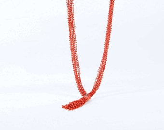 Red bead long necklace to inhance your beauty