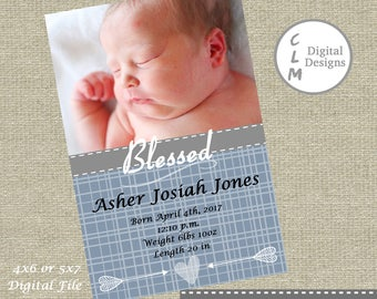 Custom Birth Announcement, Religious Birth Announcement, Photo Baby Announcement