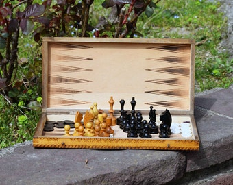 Vintage chess set Antique chess and checkers Chess game Backgammon game Wooden chess game Old checkers Wooden white black 2 in 1 game