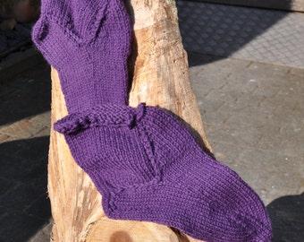 Handknitted socks size 38/40 in purple