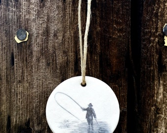 Round Fly Fishing Ornaments, Fly Fishing Christmas Gifts, Fly Fishing Gifts for Dad, Simple Christmas Ornaments, Clay Ornaments, Rustic Eleg