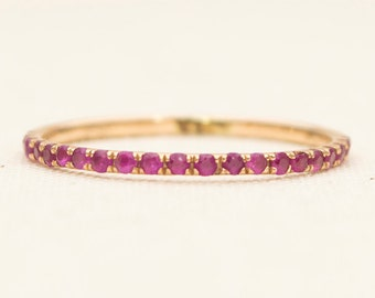 Ruby 18K Gold Micro Pave Thin Wedding Band Half Eternity Ring AD1103RB