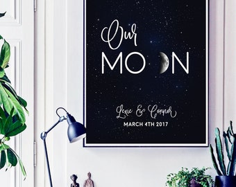 Custom Moon Phases Wall Art Print, Personalized Wedding Gift, Our Moon Print Custom Wedding Gift Anniversary Gifts for Boyfriend Moon Poster