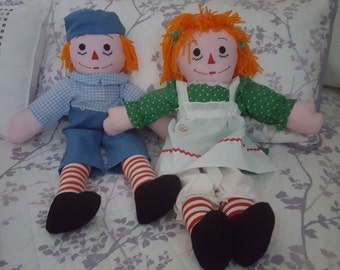 Vintage Raggedy Ann and Andy Dolls 1970's