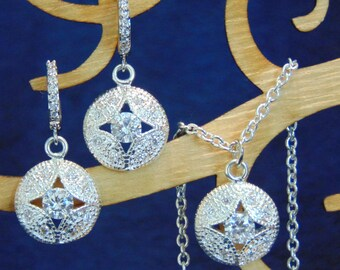 Kate Middleton Cubic Zirconia Empress Cut Out Earrings & Necklace