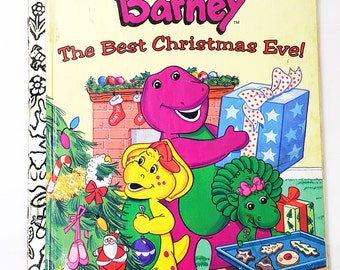 Barney Book.  The Best Christmas Eve.  Little Golden Book.  LGB.  Stephen White.  hardback children's book.
