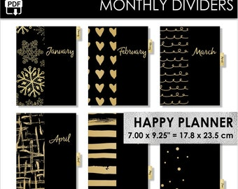 Monthly Happy Planner Dividers Gold Inserts 12 Month Black Golden Tabs Year Pdf Download PRINTABLE