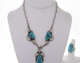 Vintage Navajo 1970's Turquoise Silver Necklace Ring Set