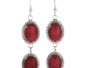Coral Silver Native American Earrings Two Stone Dangle French Hooks