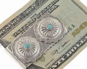 Navajo Money Clip Two Silver Concho Turquoise Accessory
