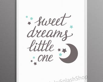 Baby Boy nursery art print Sweet dreams Little one. Mint blue and grey childrens room wall decor printable. Moon stars nursery quote poster