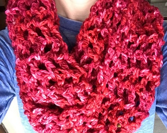 Burgundy Crocheted Infinity Scarf