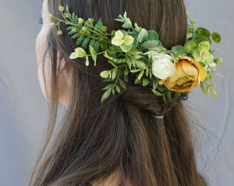 Flower crown, flower crown wedding, flower headpiece, flower hair comb, flower half crown, flower headpiece