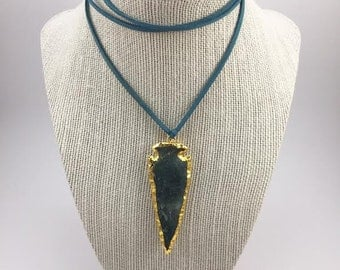 Dark Green Arrowhead Suede Wrap Choker