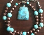 """Natural Turquoise Stone Pendant with Turquoise Dyed Howlite and Glass Pearls 18.25"""" Necklace"""