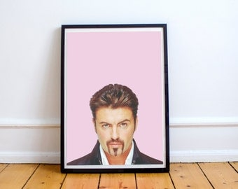 George Michael portrait print, George Michael printable, poster, pop art, culture, star, music celebrity, Wham!, George Michael poster