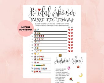Bridal Shower Game Pictionary, Emoji Pictionary, Bridal Shower Template, Printable Bridal Shower, Bridal Party Games INSTANT DOWNLOAD, PDF