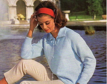 womens polo shirt knitting pattern pdf DK ladies sweater with collar Vintage 60s 32-38 inch DK light worsted 8ply Instant Download