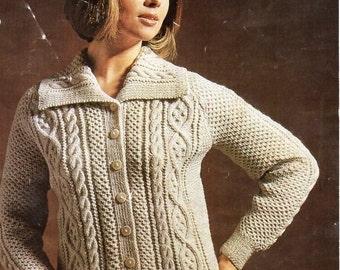 """vintage womens aran jacket knitting pattern PDF ladies cable cardigan 34-40"""" DK light worsted 8ply Instant download"""