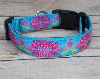 Turquoise Dog Collar / Pink Dog Collar / Blue Dog Collar / Large Dog Collar / Medium Dog Collar / Turquoise Leash / Vibrant Dog Collar