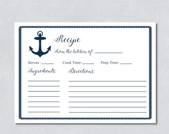 Recipe cards bridal shower / Nautical navy blue / Anchor / Beach themed / DIY Printable / INSTANT DOWNLOAD