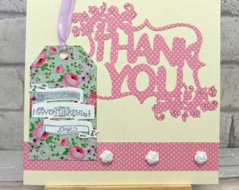 Thank you card, floral, cream and pink, flowers