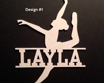 Dance  Door Wall Hanging Dancer Wood Name Personalized