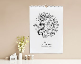 SALE! 50% OFF! Illustrated Nature 2017 Wall Calendar, Spiral Bound, Hand Drawn Pen and Ink, Black and White Illustration, Holiday Gift