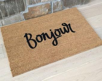 French Door Mat, Bonjour Doormat, Friend Gift, Gifts for Sister, Gifts for Mom, French Decor, Gifts for Girlfriend