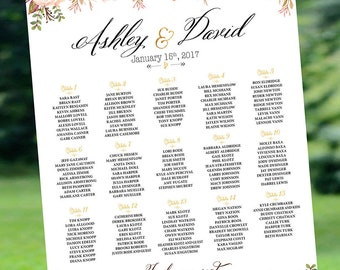 RUSH SERVICE, Wedding Seating chart alphabetical, Wedding Seating Chart, Boho Wedding Decor, Table Seating plan - US_WC0105a