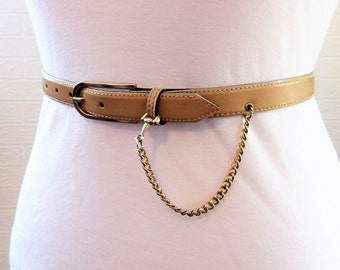Beige Leather Belt with Gold Buckle Chain Length 36 inches 1980s